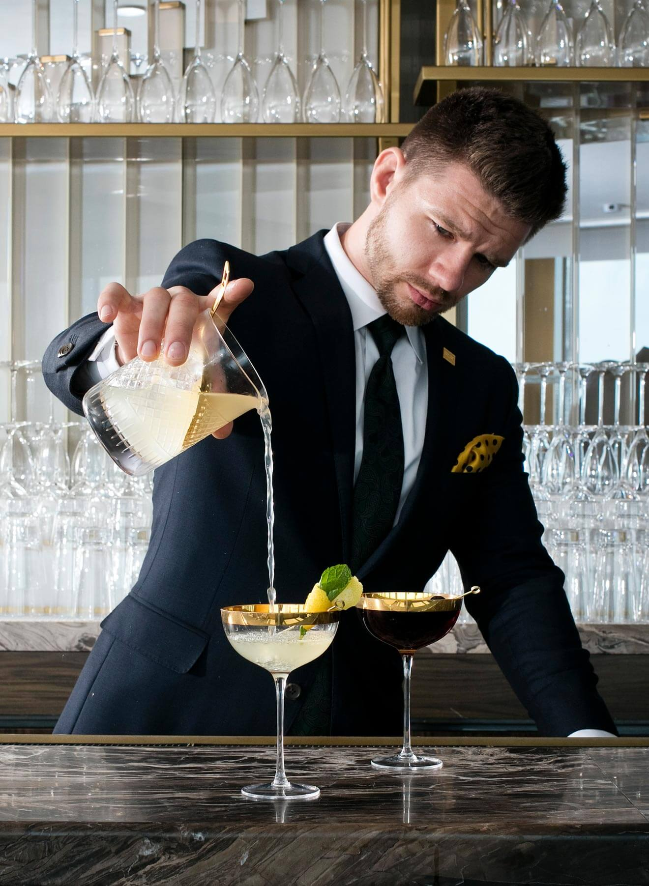 Corey Creason - Chilled 100 Ambassador, New York, pouring his cocktails in style