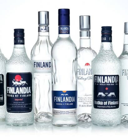 Finlandia Vodka New Packaging, bottle selections on white with reflection, featrured image