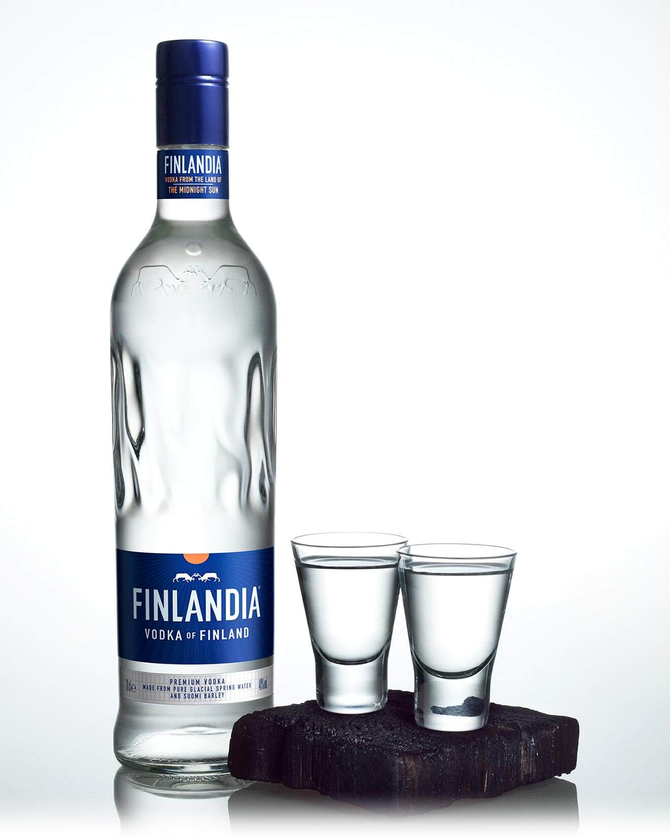 Finlandia New Package, bottle and shots on white
