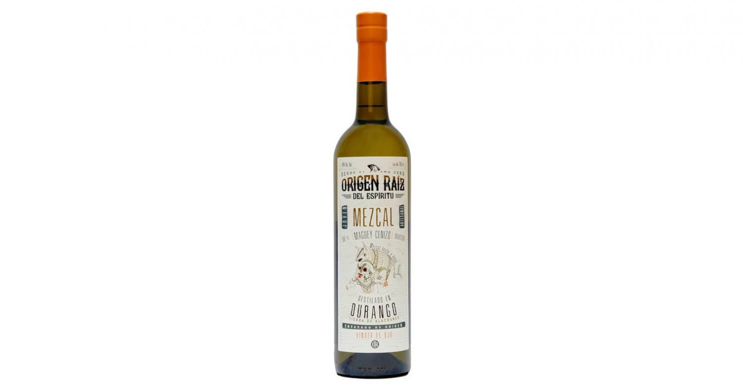 Origen Raiz Mezcal, bottle on white, featured image