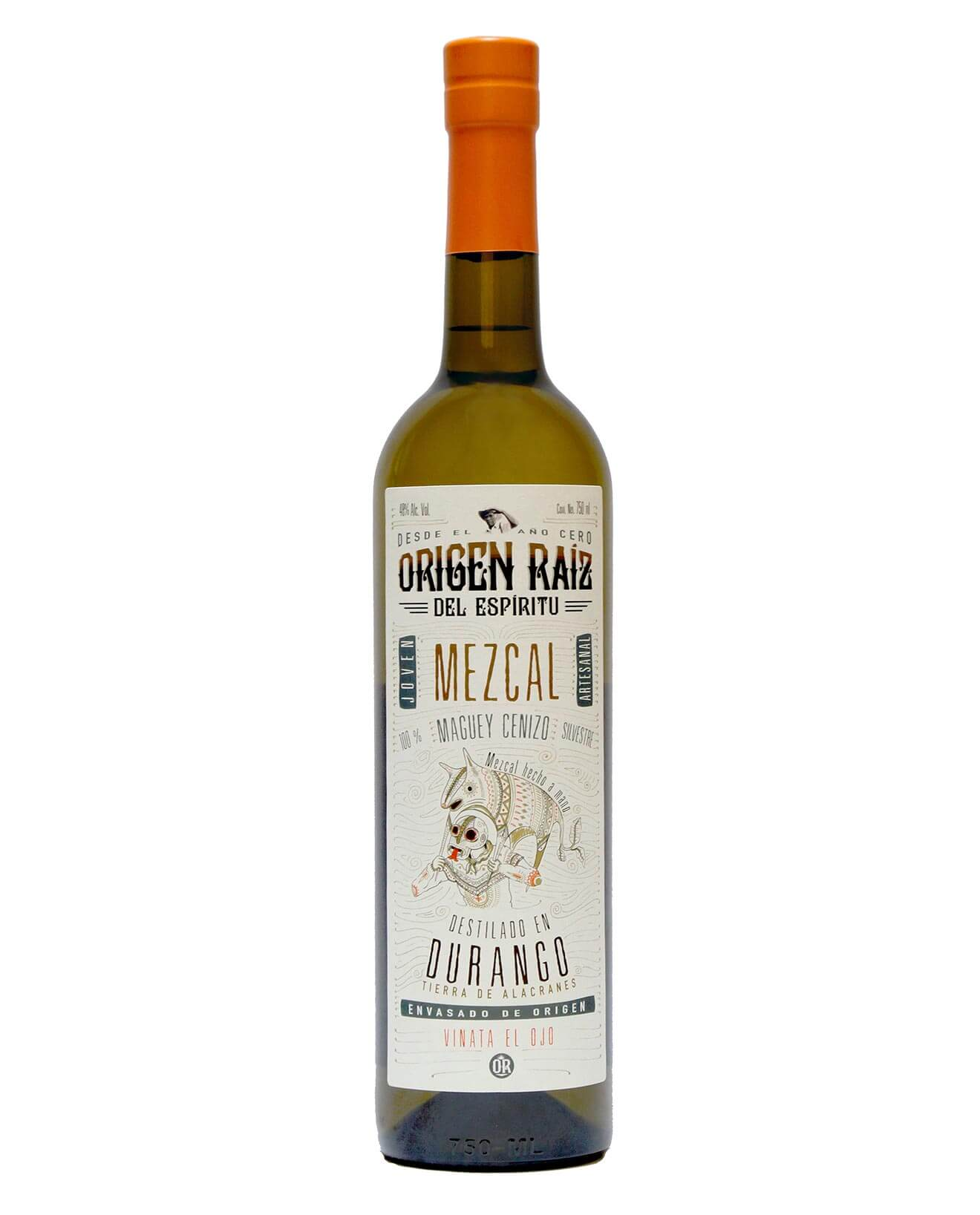 Origen Raiz Mezcal, bottle on white