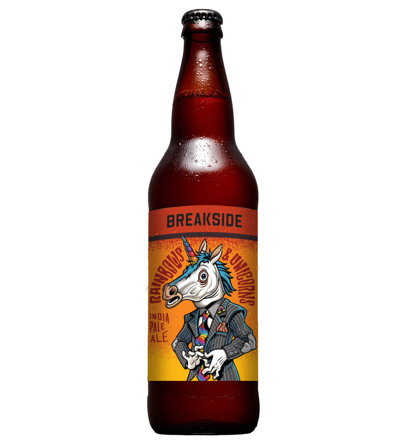 Rainbows & Unicorns IPA, bottle on white