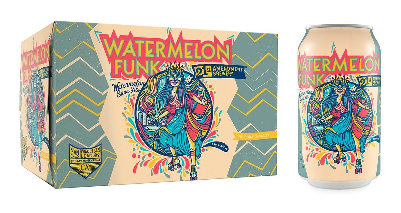 21st Amendment Watermelon Funk, can and package on white