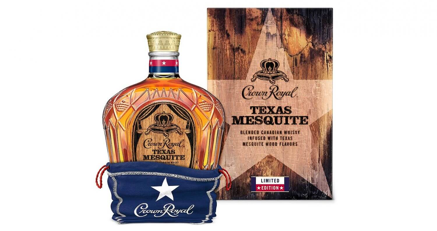 Crown Royal Limited Edition Texas Mesquite, bottle and package on white, featured image