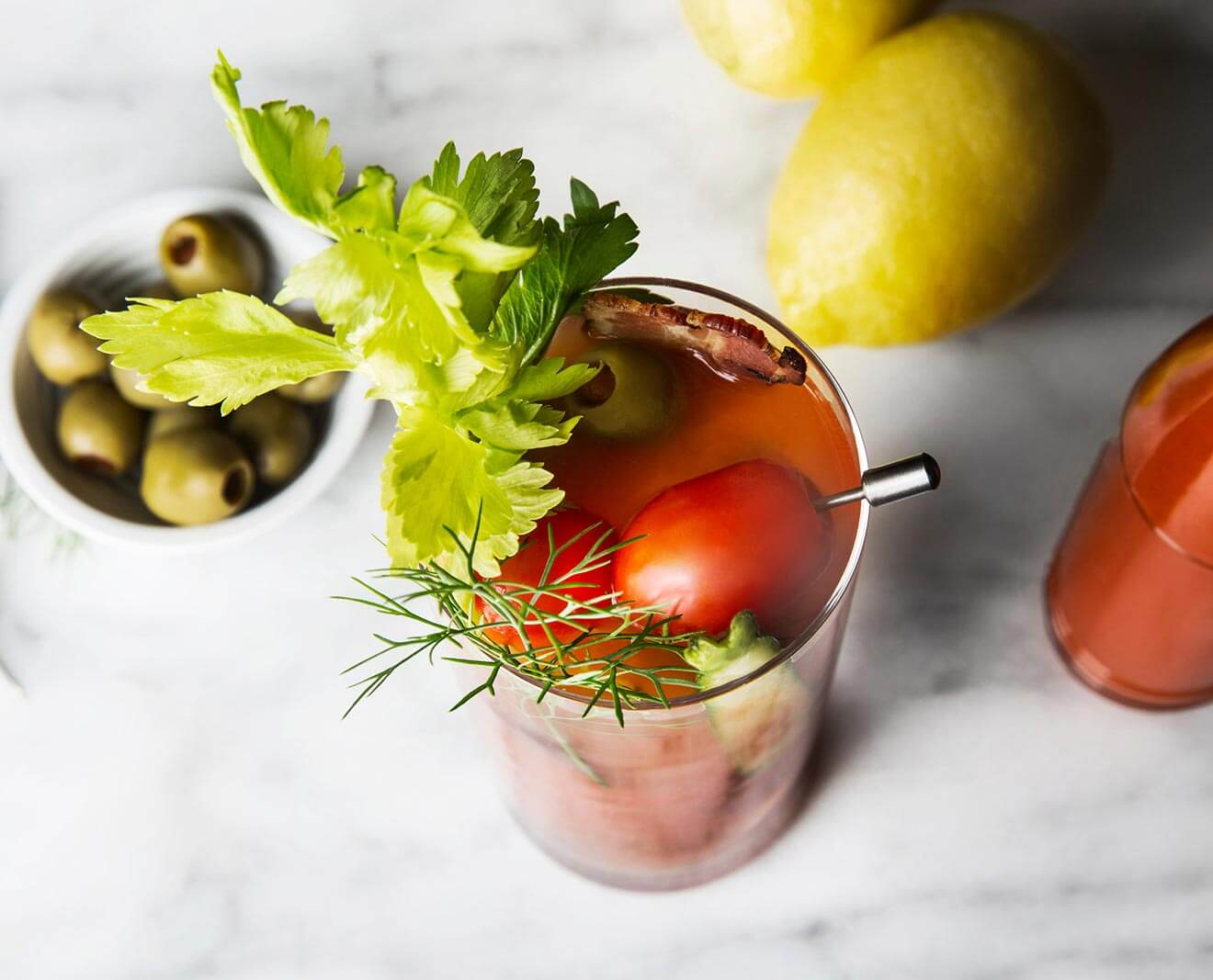 Smoky Chipotle Bloody Mary cocktail with garnishes