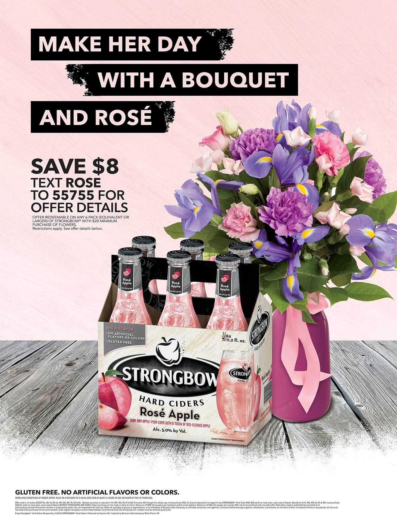 Apple Rosé and a Bouquet for Mother's Day, bouquet and 6 pack bottles