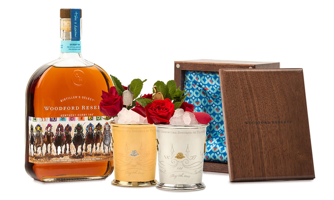 Woodford Reserve 2018 Kentucky Derby Mint Julep, cocktail with bottle, garnishes and award