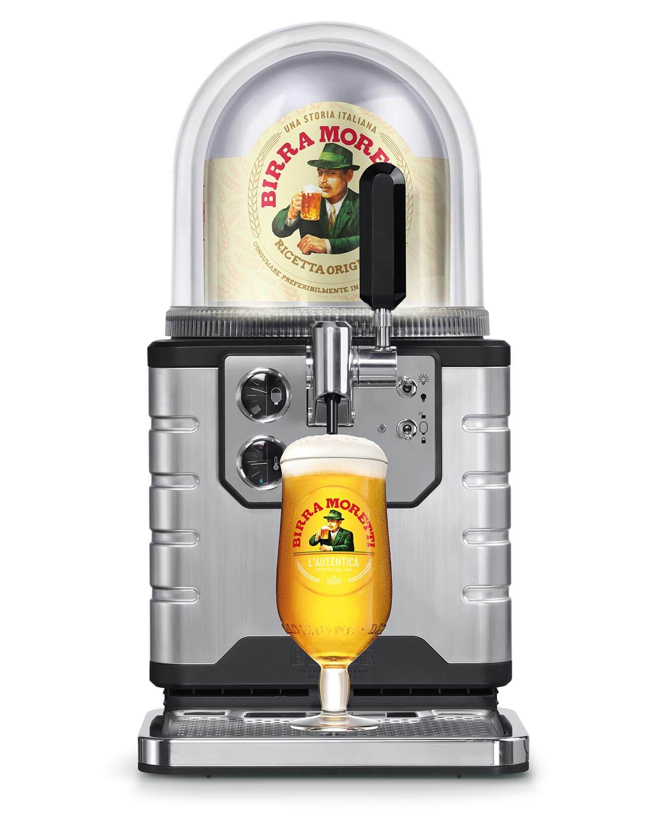 Birra Moretti and BLADE, draught system on white
