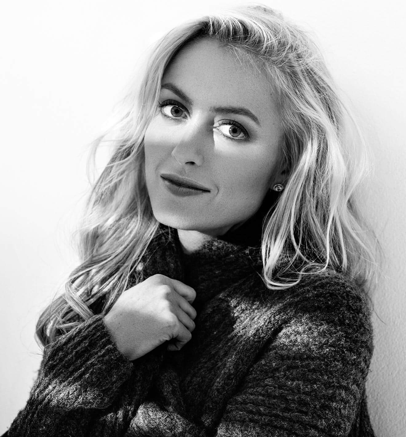 Chillin' with Amy Rutberg, black and white, wrapping sweater