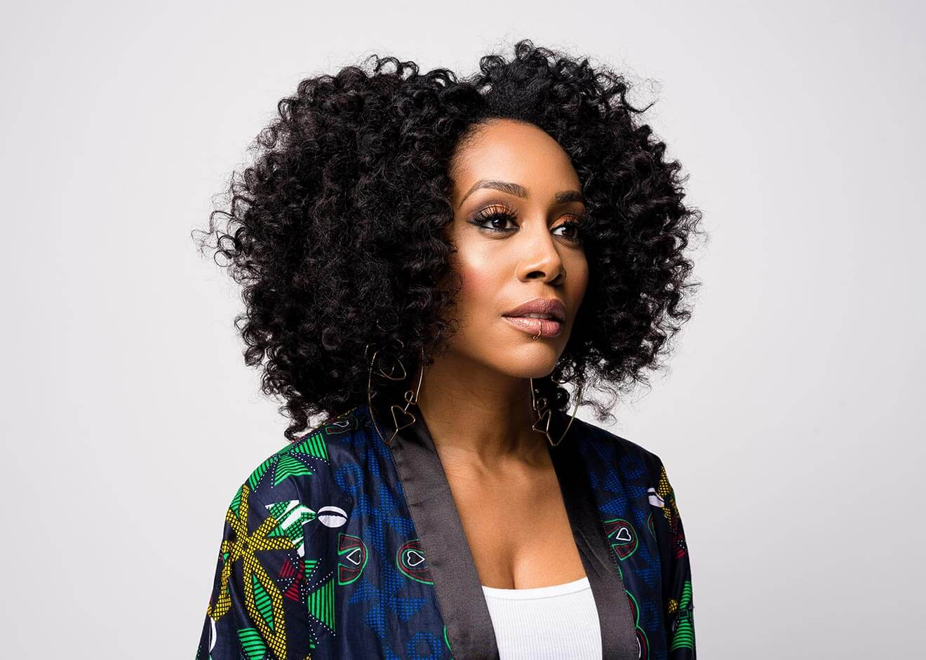 Chillin' with Simone Missick, side view serious