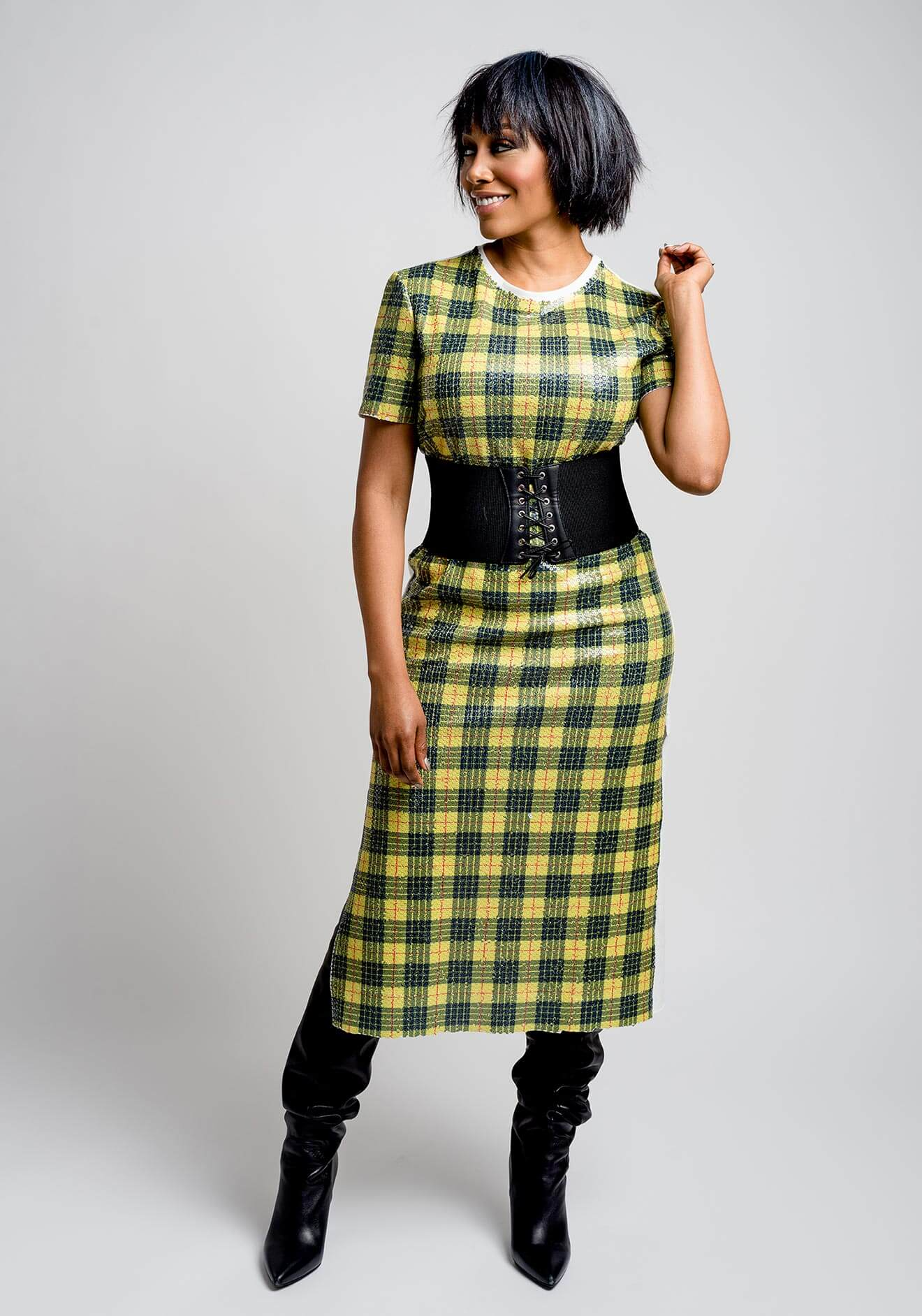 Chillin' with Simone Missick, yellow plaid dress