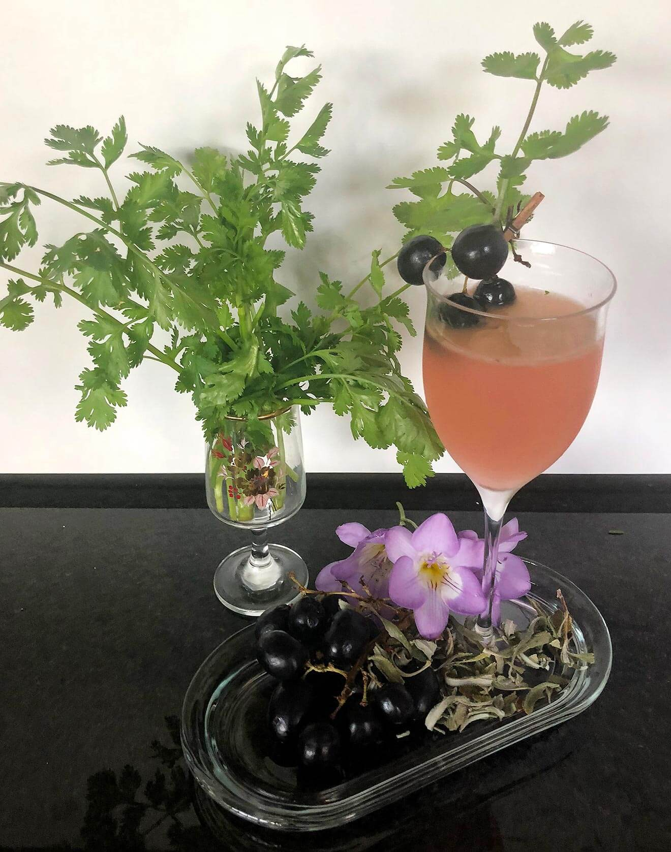 Cilantro is Grape for You cocktail and garnishes