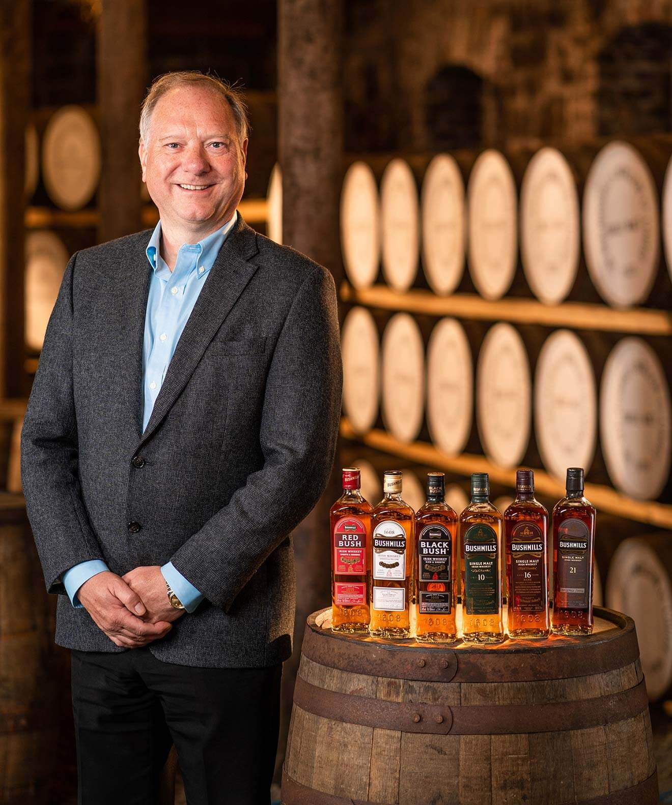David Gosnell in barrel room with bushmills varieties