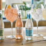 Fever-Tree Product Range, bottles and glasses display