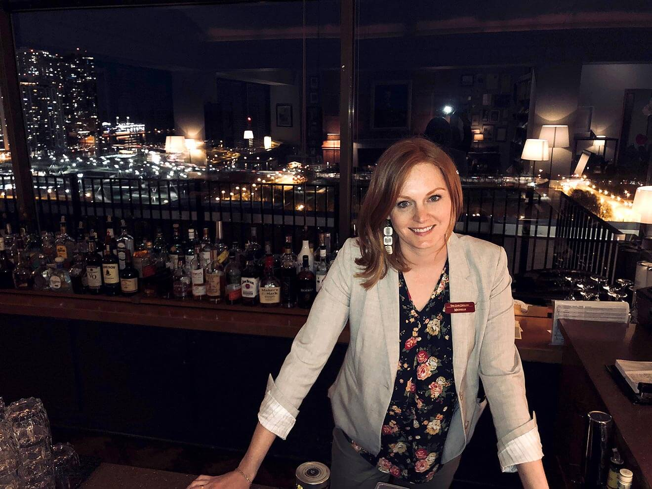 Michelle FitzGerald, behind the bar