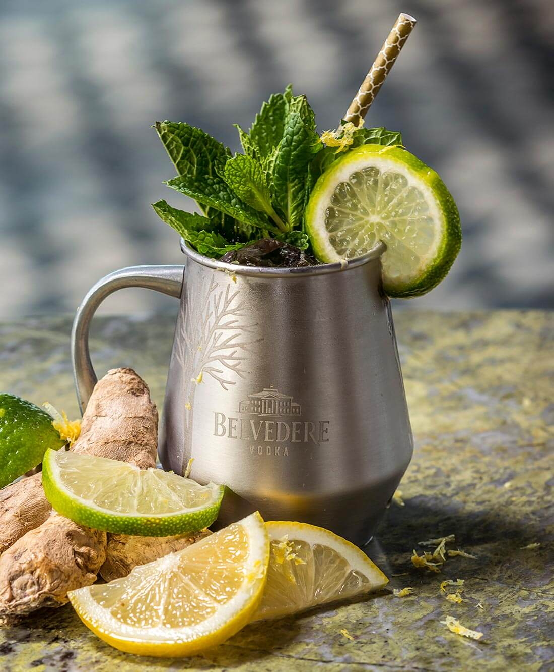 Polish Mule, cocktail and garnish in mule glass