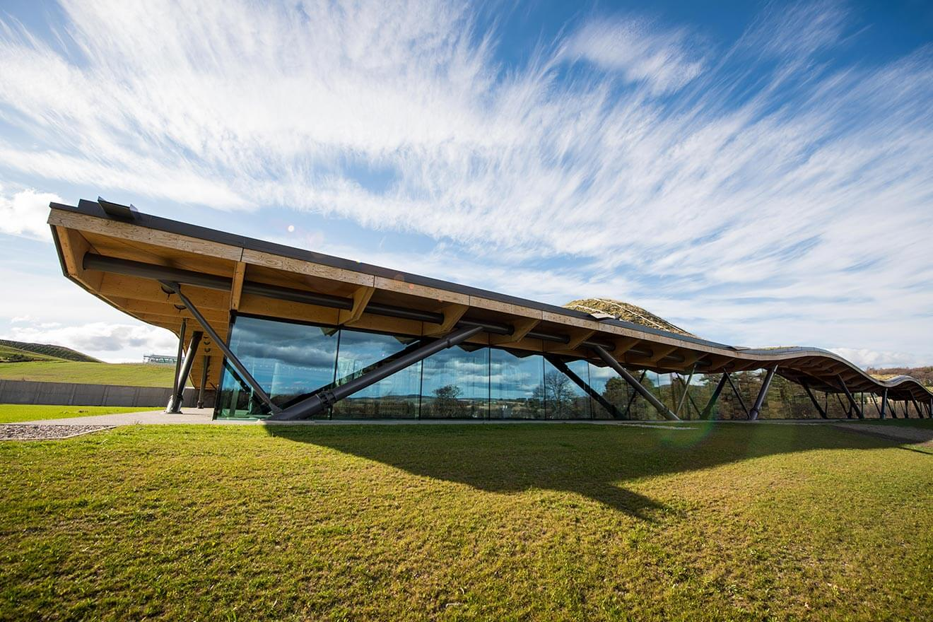 The Macallan New Distillery, side view of architecture, blue sky