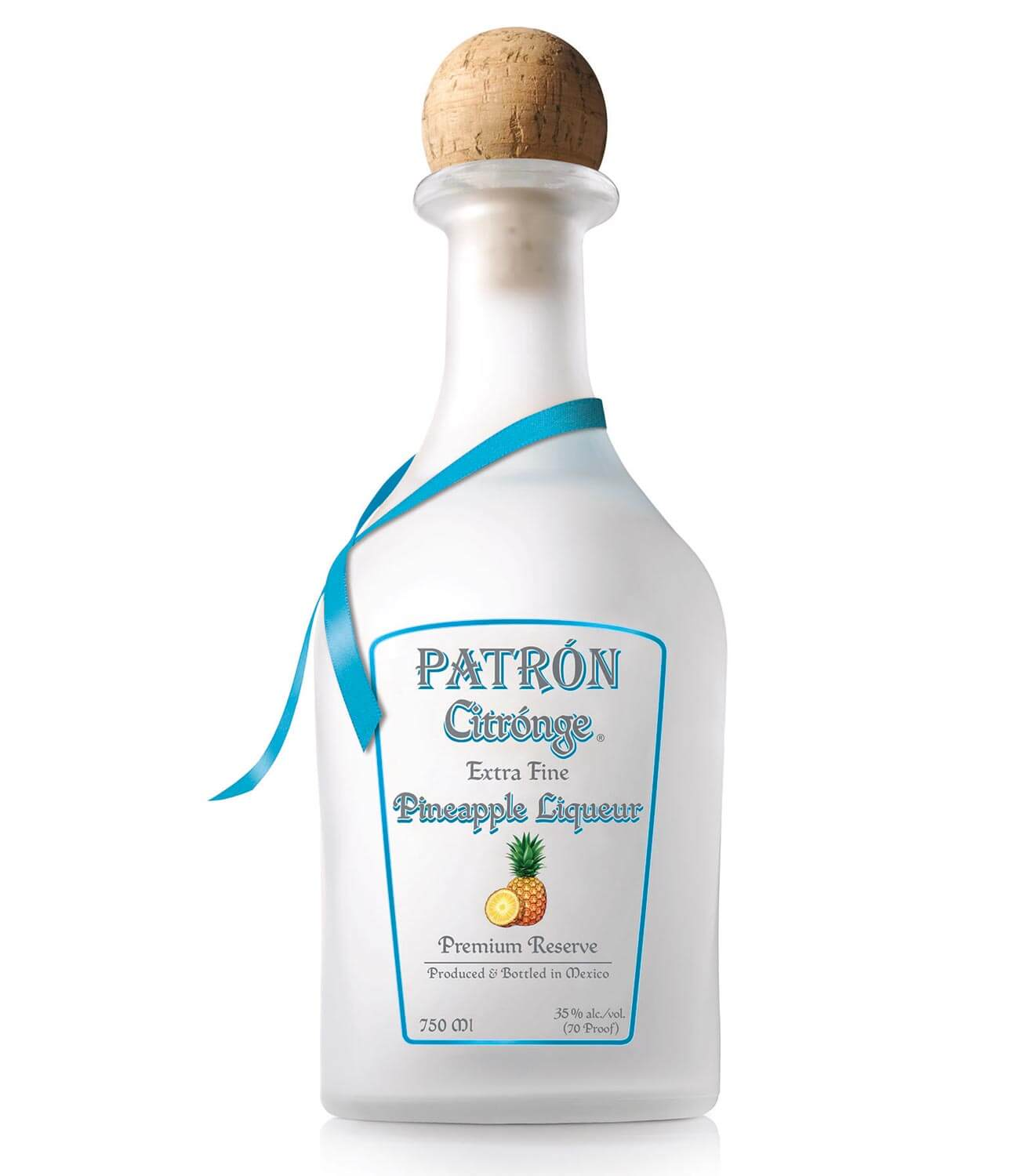 Patrón Citrónge Pineapple Liqueur, bottle on white
