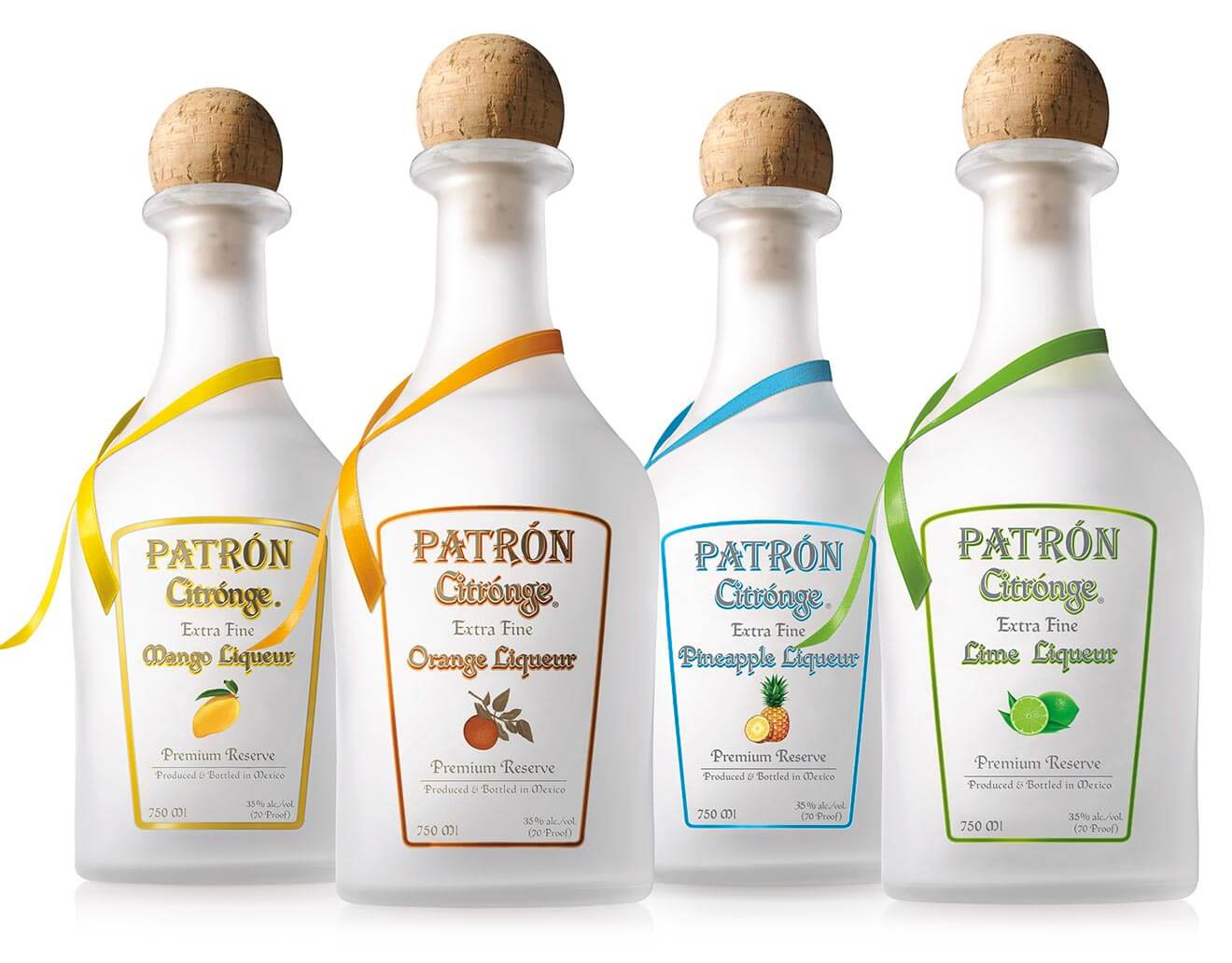 Patrón Citrónge Flavor Portfolio, bottles on white