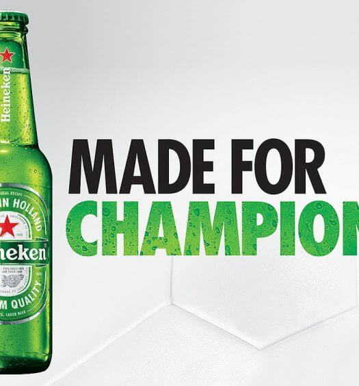 Heineken and the ICC, bottle and made for champrions message, featured image