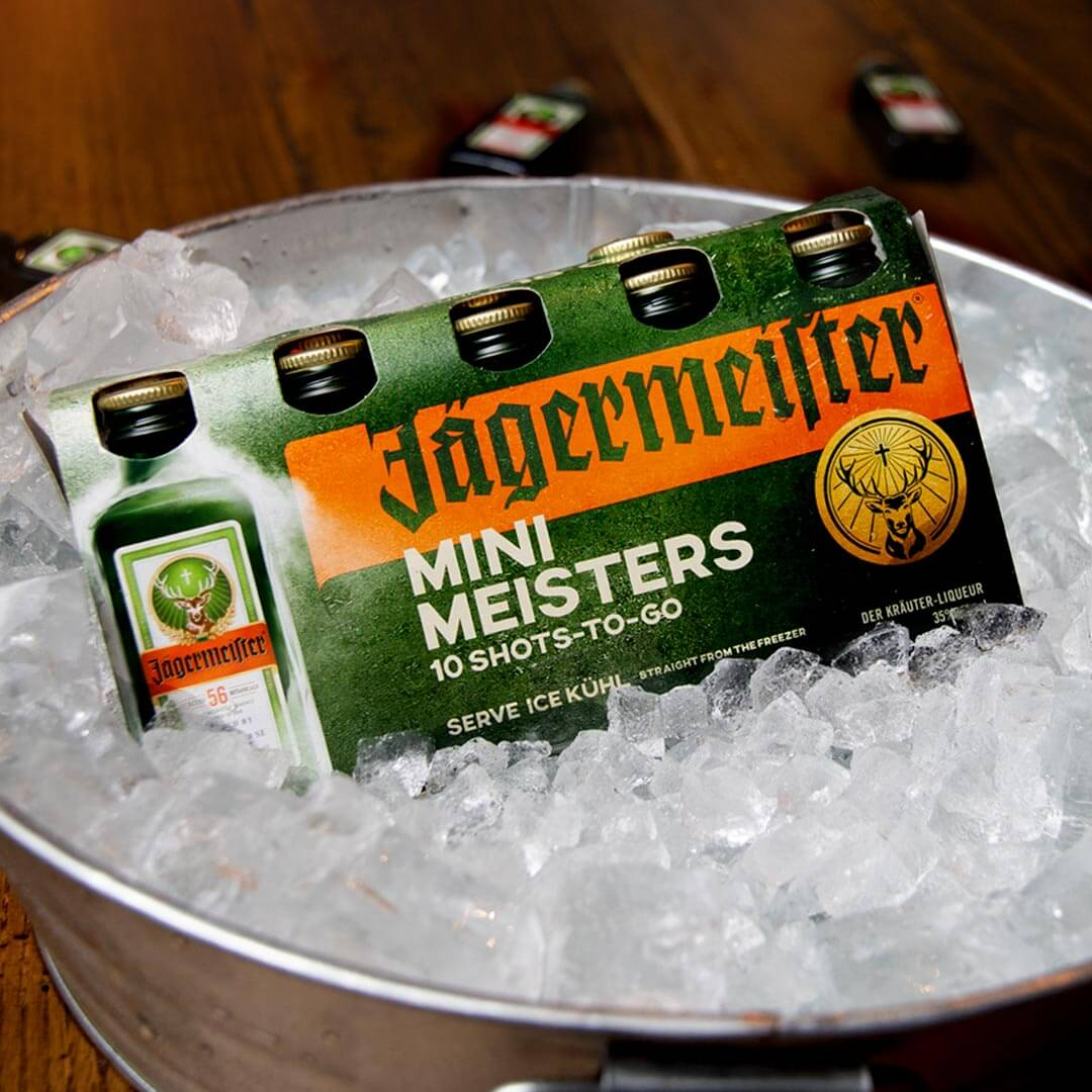 Jägermeister Mini Meister 10 Pack, in ice bucket