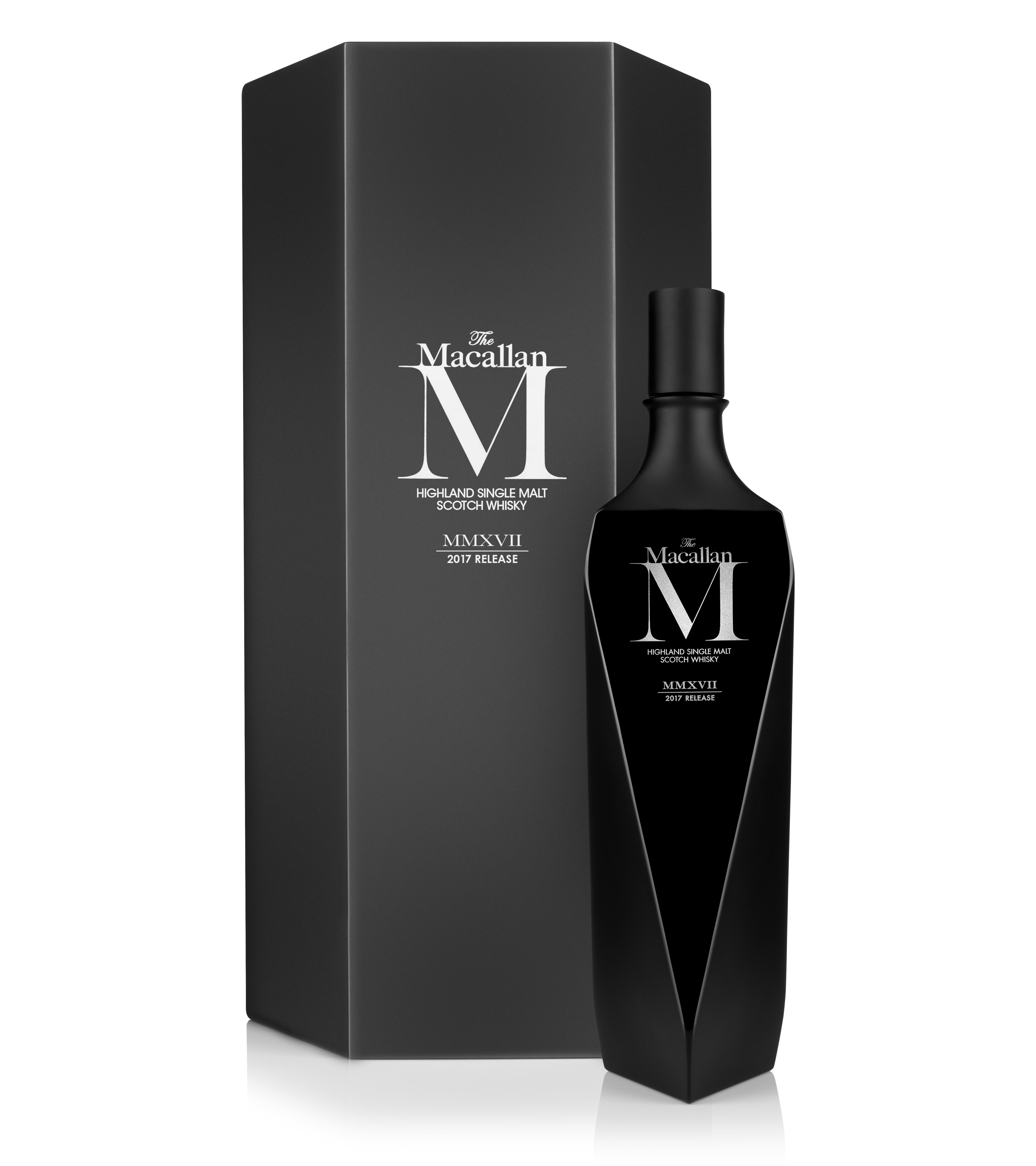 The Macallan M Black, bottle and packaging on white