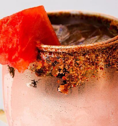 Copper Pot, cocktail in mule mug, watermelon garnish, featured image