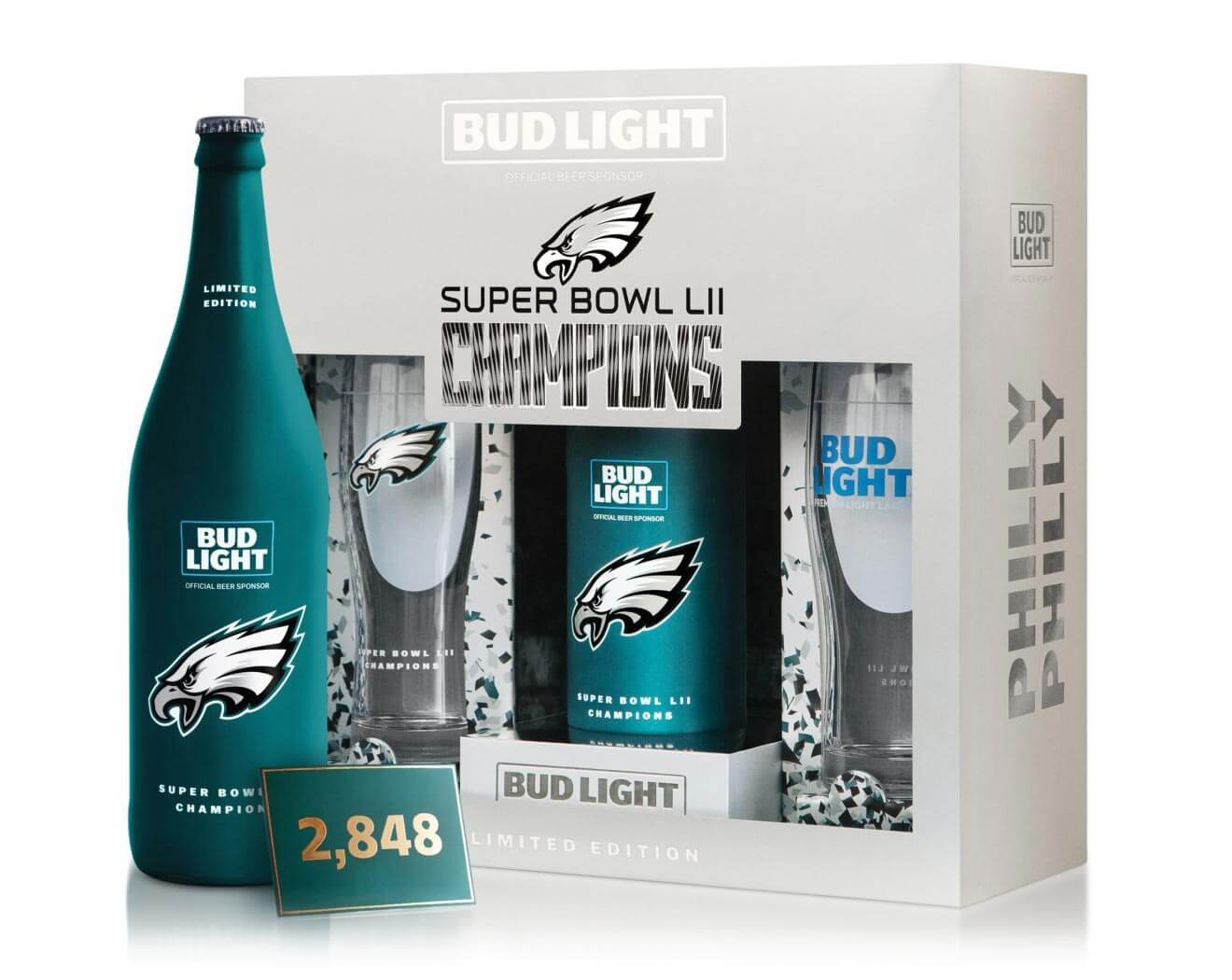 """Philly Philly"" Limited Edition Commemorative Pack, bottle and package on white"