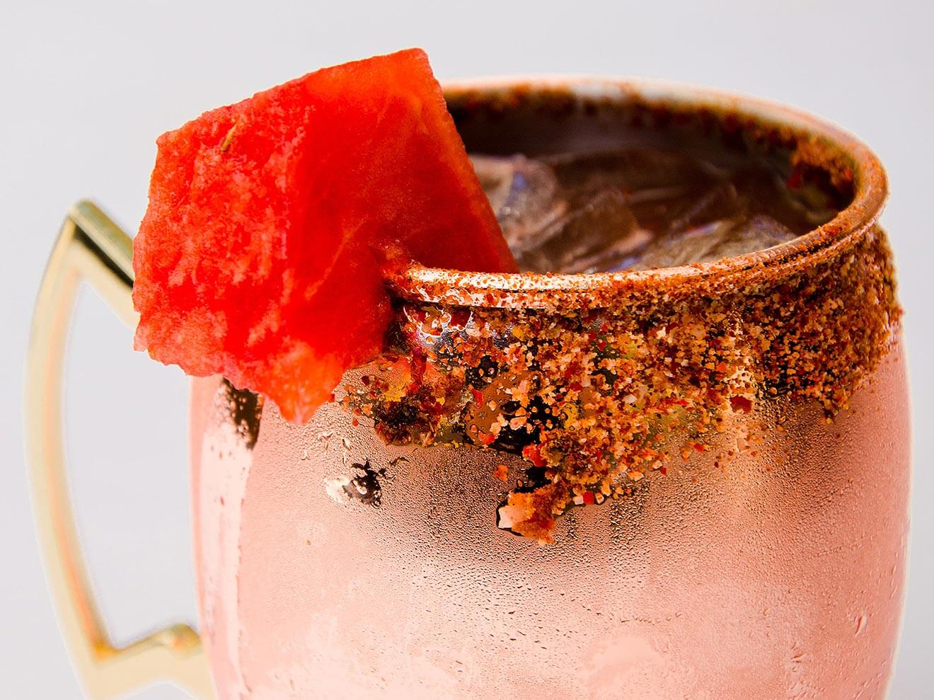 Copper Pot, cocktail in mule mug, watermelon garnish