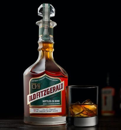 Fall 2018 Old Fitzgerald Bottled in Bond Series, bottle and glass on dark background, featured image