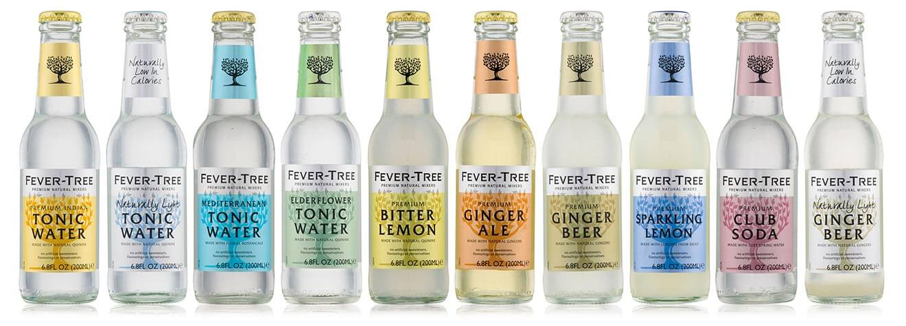 Fever-Tree Flavor Range, bottles displayed on white