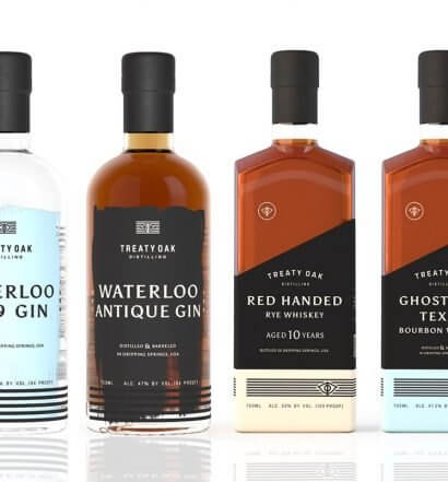 Treaty Oak Distilling Whiskey and Gin Portfolio, bottles on white, featured image