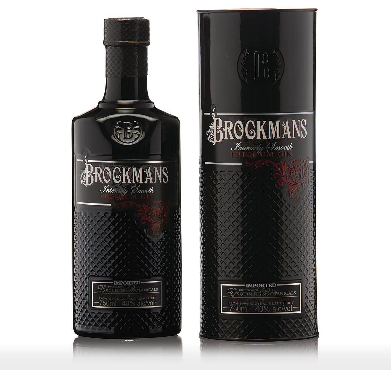 Brockmans Gin Holiday Gift Pack, bottle and package on white