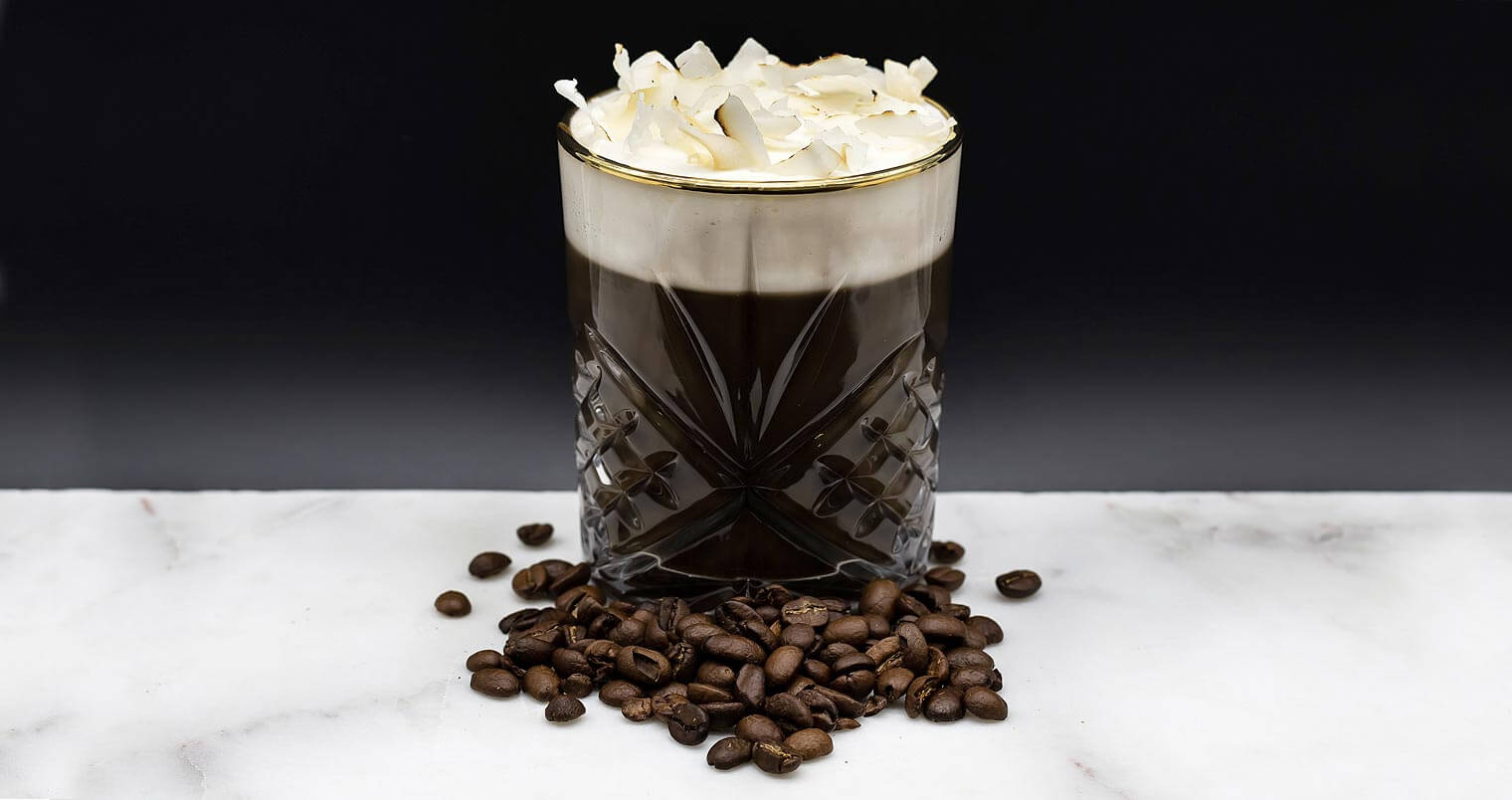 Coco Brew, cocktail with coffee beans, featured image