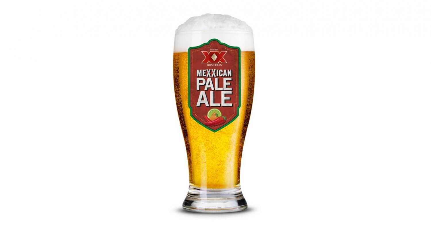 Dos Equis Mexican Pale Ale, glass on white, featured image