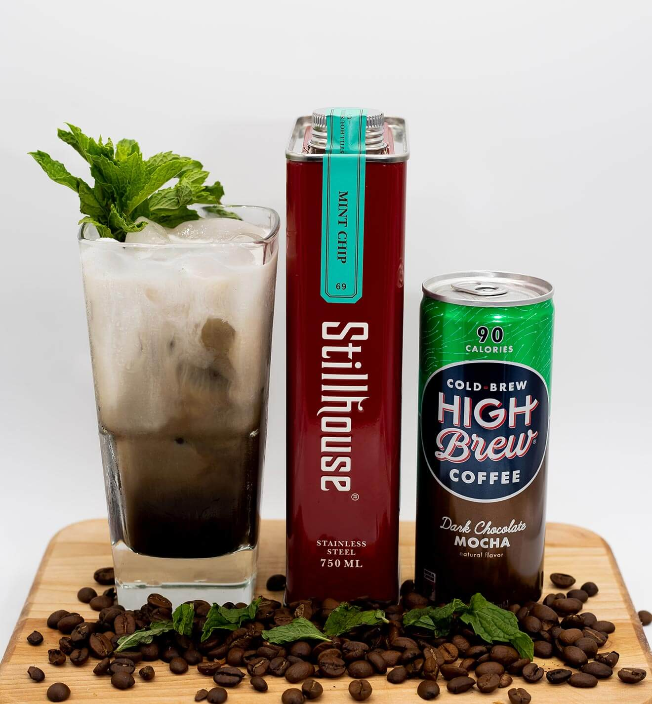 Mint Chip Mocha, cocktail can and bottle