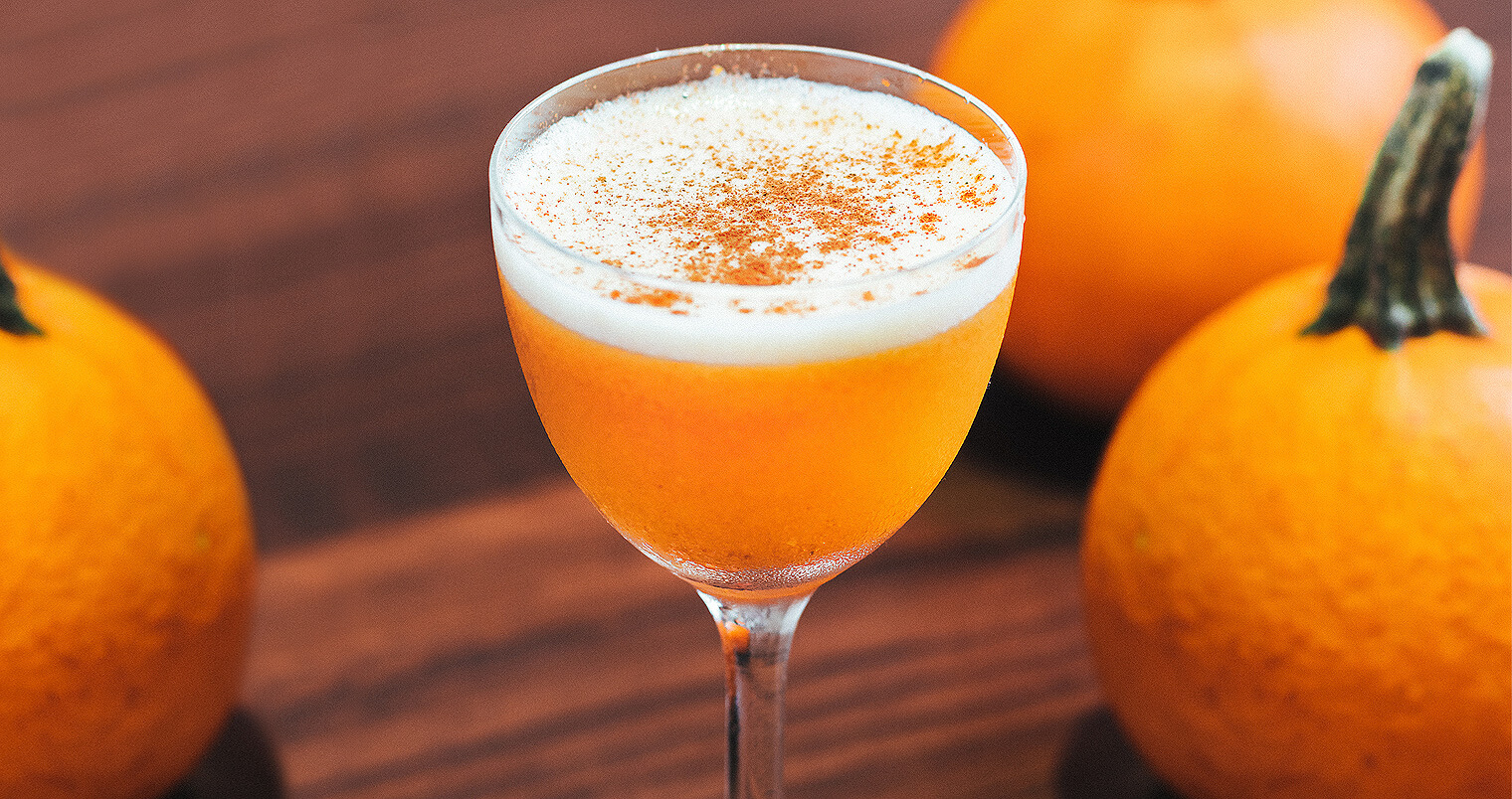 NOLET'S Silver Pumpkin Flip, cocktail with pumpkin garnish, featured image