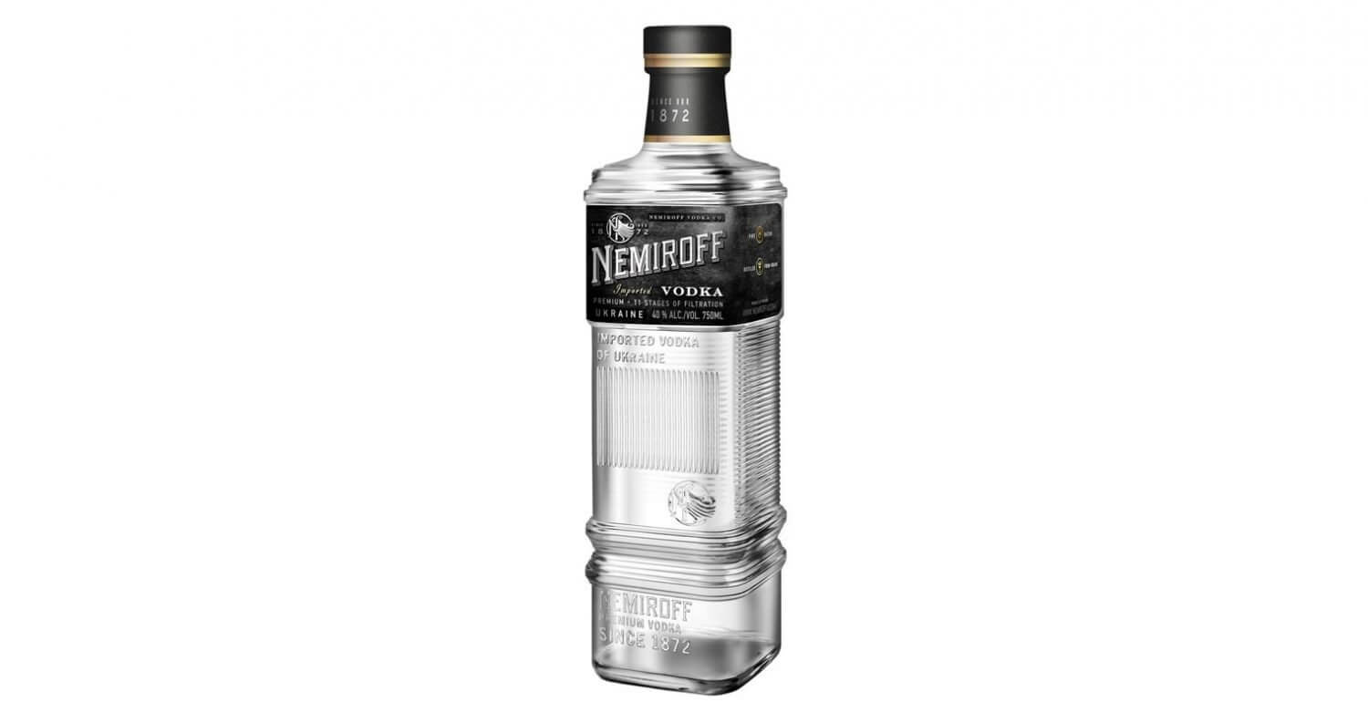 Nemiroff Vodka bottle on white, featured image