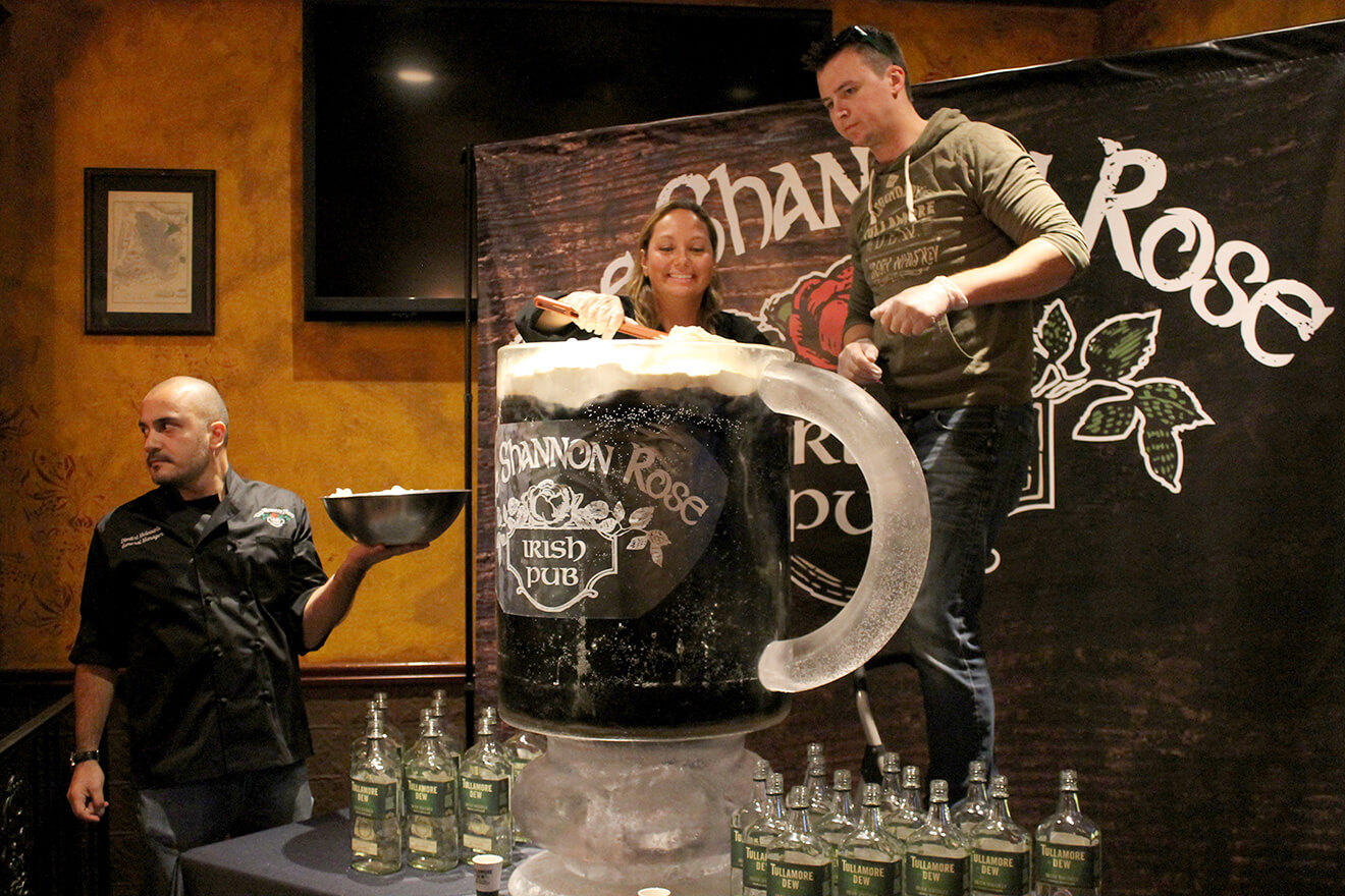 The Shannon Rose Irish Coffee Being Prepared atop huge tullamore dew display