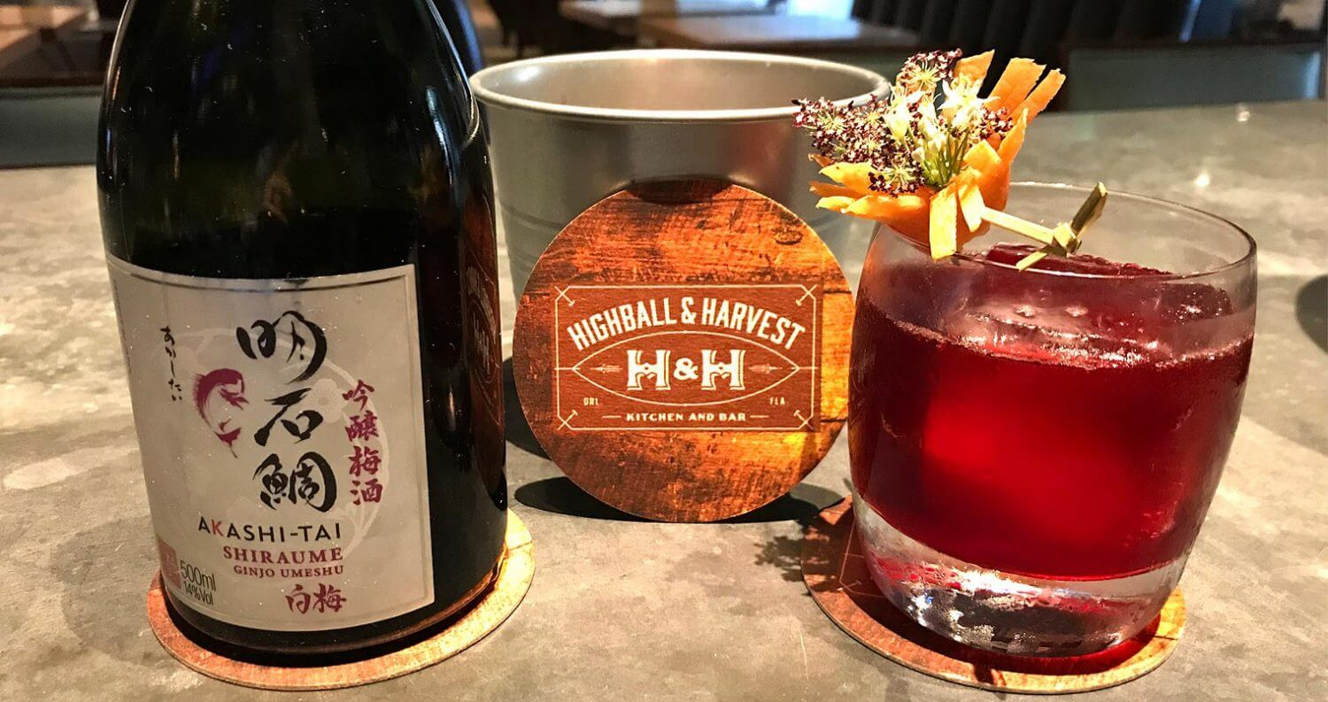 Akashi Tai Sake Old Fashioned, cocktail and bottle, featured image
