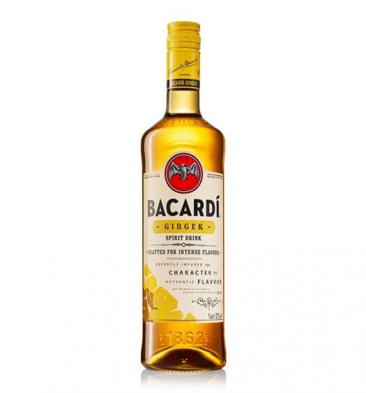 BACARDÍ Ginger, bottle on white, feature image