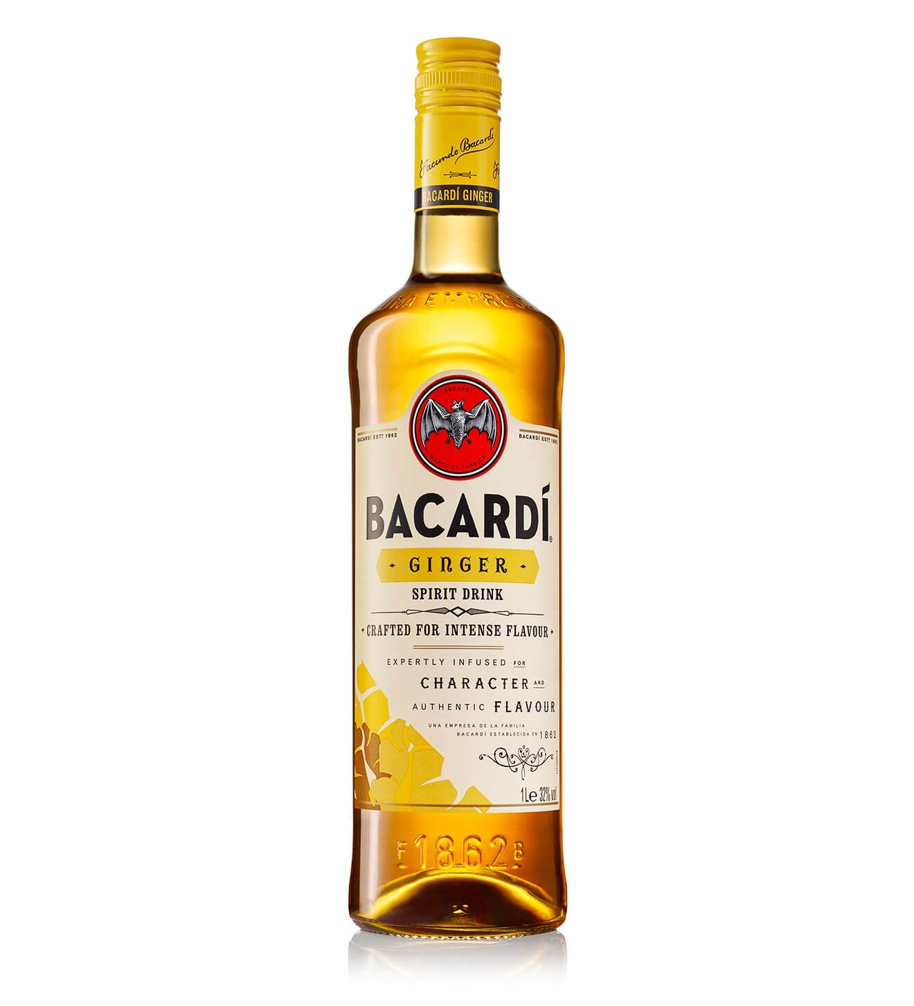 BACARDÍ Ginger, bottle on white