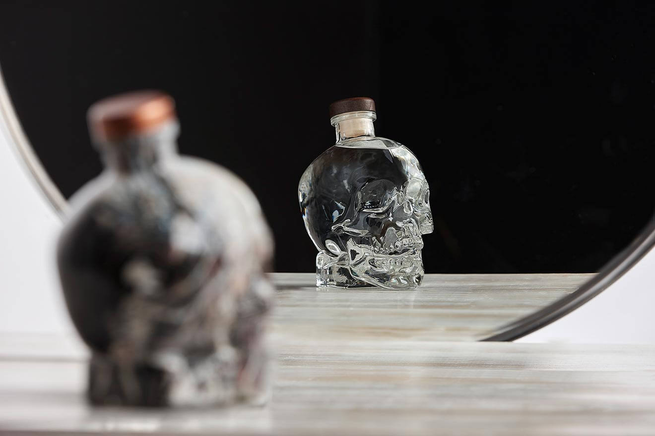 Crystal Head Bottles on display