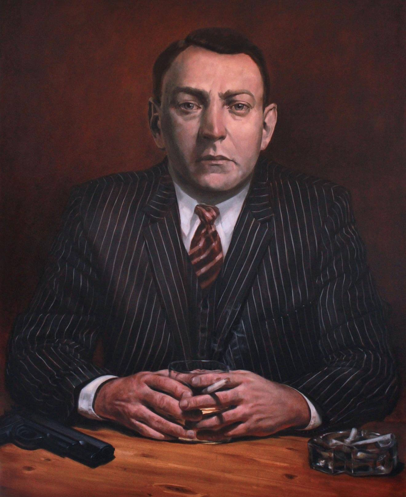 Dutch Schultz Portrait, oil painting, suit with gun, smoking cigarette