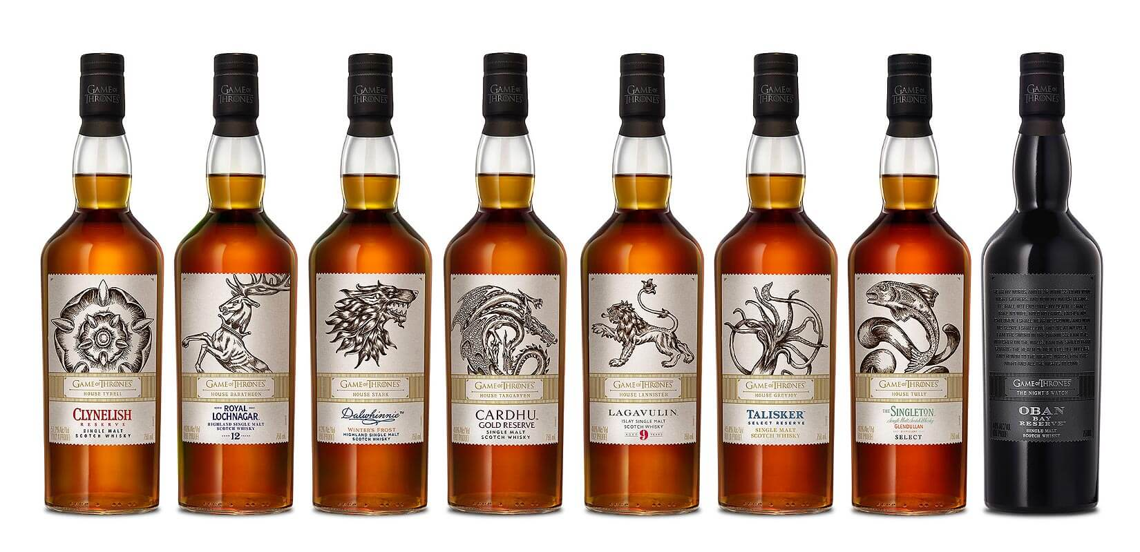 Game of Thrones Single Malt Scotch Whisky Collection, bottles on white