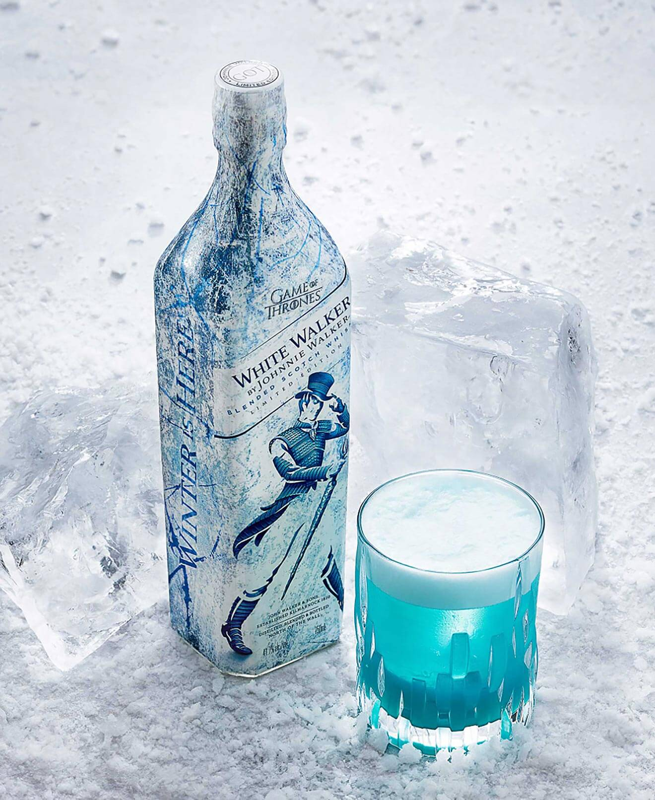 Johnnie Walker White Walker, bottle and glass