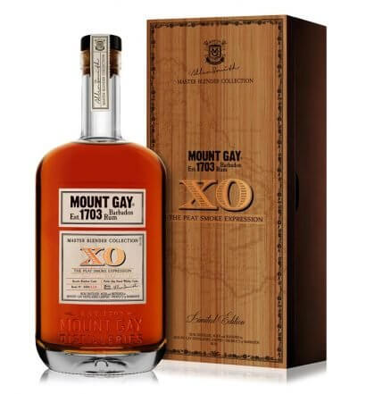 Mount Gay Releases Limited Edition XO The Peat Smoke Expression, bottle and package on white