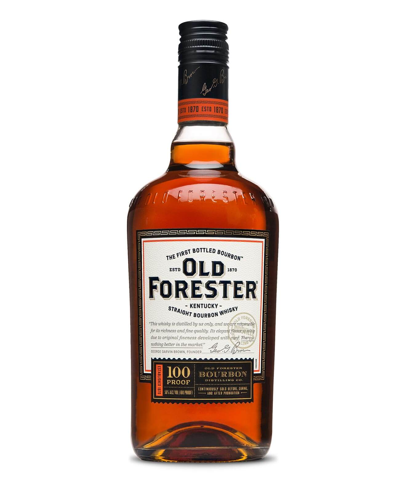 Old Forester 100 bottle on white