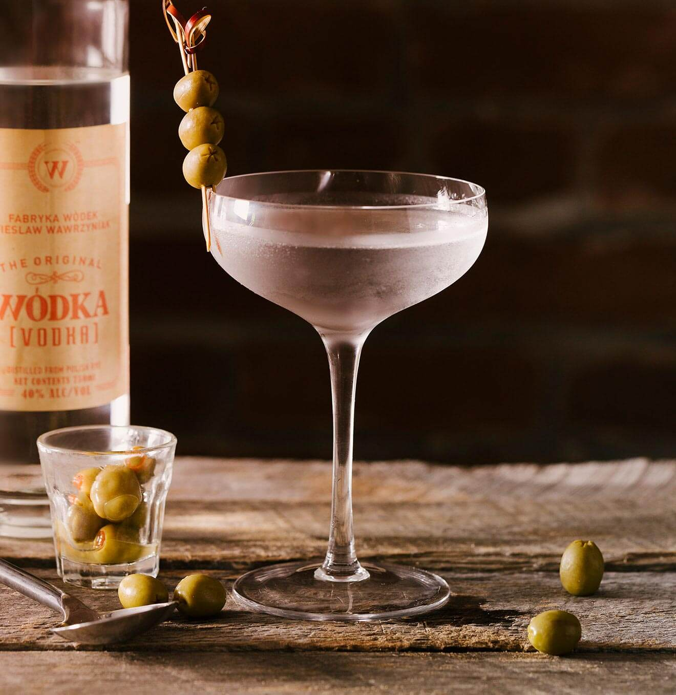 Wódka Martini, bottle and cocktail with olives