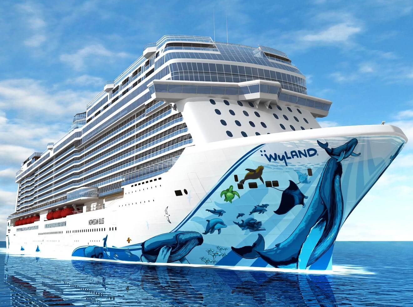 Wyland's Artwork on Norwegian Bliss, cruise ship